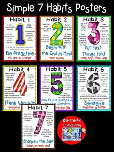 Simple 7 habits posters to use in school counseling curriculum and classrooms. I School, School Classroom, School Stuff, Classroom Ideas, Classroom Organization, Classroom Management, 7 Habits Posters, Habits Of Mind, Student Leadership