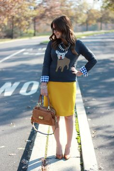How to Wear a Graphic Sweater at Work | J. Crew Frenchie Sweater Outfit Idea | Follow this board for more stylish office wear ideas!