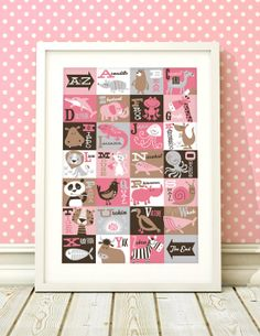 Girls A3 nursery print AZ animals Giclee print by BubbleGumYears, £13.99