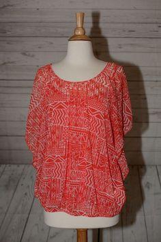 Apt. 9 Size L, Large Batwing Sheer Top Blouse Shirt Geometric Orange White Bold #Apt9 #Blouse #Casual