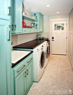 Laundry Room - After photos.  How pretty~~~http://www.theprojectgirl.com/2012/09/07/laundry-room-finished-progress-photos/