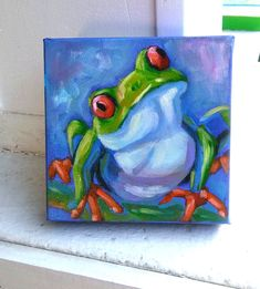 Happy froggy, oil painting thick canvas* see note by YvetteAndinoArt on Etsy Green Frog, Blue Backgrounds, Art For Sale, Wrapped Canvas, Oil, Unique Jewelry, Handmade Gifts, Happy, Pictures