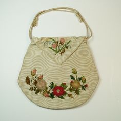 Antique Regency Reticule Purse Moiré Silk Aerophane Ribbon Work Chenille 1810. Come see our breath taking collection of Antique Georgian purses, reticules, work bags, pocketbooks, pouches  and textiles ~ ALL available to purchase!!!