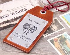 Personalized Leather Luggage Tag  Custom Leather by aimeehandmade