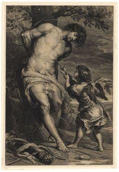 Paulus Mijtens noto anche come Paul Pontius, San Sebastiano curato da un angelo (dopo Gerard Seghers) 1616 - 1657, incisione, cm 43,8 × 27,7,  Amsterdam, Baesi Bassi, Rijksmuseum.
