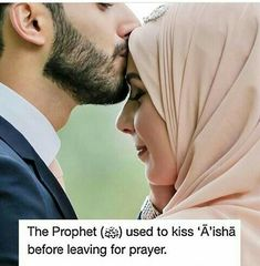 The Prophet(ﷺ) used to kiss 'Aisha before leaving for prayer. Muslim Couple Quotes, Cute Muslim Couples, Muslim Love Quotes, Love In Islam, Beautiful Islamic Quotes, Islamic Inspirational Quotes, Islamic Qoutes, Love Husband Quotes, Cute Love Quotes