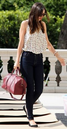 Miranda Kerr, high-waisted skinny jeans and a tucked-in flowy blouse.  Bought my first pair & getting ideas.