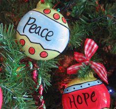 Peace, Joy & Hope Ornaments - Set of 3  $13.20 Merry Little Christmas, Christmas Signs, Christmas Ideas, Ceramic Christmas Trees, Christmas Tree Ornaments, Bisque Pottery, Ceramics Ideas, Project Ideas, Projects