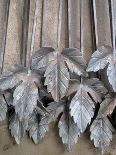 Forged hop leaves for a gate