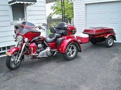 37 Ideas Motorcycle Trailer Harley Davidson For 2019 Motorcycle Party, Trike Motorcycle, Trike Bicycle, Harley Davidson Trike, Harley Davidson Touring, Davidson Bike, Pull Behind Motorcycle Trailer, Pompe A Essence, Used Motorcycles