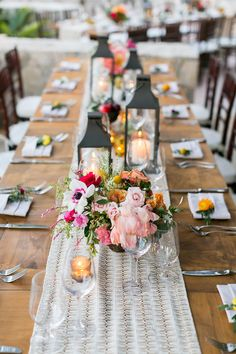 tropical wedding table - photo by Ana and Jerome Photography http://ruffledblog.com/colorful-joyous-wedding-in-cabo-san-lucas