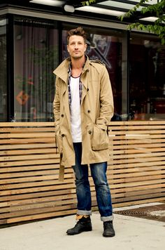 Khaki Trench Coat, Faded Fitted Jeans, and Scarf. Men's Fall/Winter Fashion.