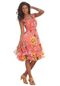 Empire Waist Watercolor Print Dress