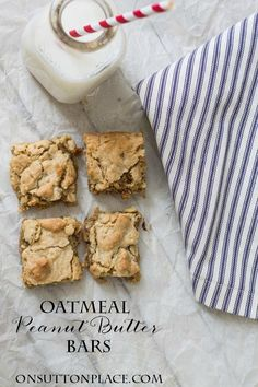 Oatmeal Peanut Butter Bars | the perfect quick and easy snack! | onsuttonplace.com