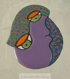 Silverstein Purple, Speckled Enamel Illusion Face Brooch
