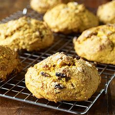 Canned pumpkin replaces most of the fat in these satisfying pumpkin raisin scones. Perfect for #breakfast or snack time! http://www.parents.com/recipe/quickbreads/pumpkin-raisin-scones/?socsrc=pmmpin102512hsPumpkinScones