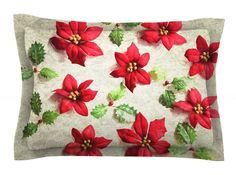 Poinsettia by Sylvia Cook Holiday Leaves Woven Sham