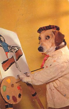 I think this is a Beagle-Basset mix. But, he's a very good painter, so I thought I'd sneak him in here.
