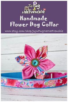 Your place to buy and sell all things handmade Dog Collar Boy, Girl Dog Collars, Designer Dog Collars, Pink Dog, Rifle Paper Co, Girl And Dog, Handmade Flowers, Doge, Dog Design