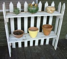 Picket fence plant stand