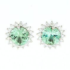 A 14kwg beautiful pair of mint green tourmaline and diamonds earrings - Mackley Jewelers
