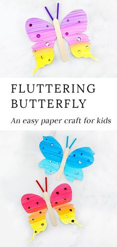 Looking for an easy and fun paper butterfly craft for kids? This fluttering butterfly craft includes a printable template making it perfect for home school or special butterfly programs at libraries museums or butterfly exhibits. Paper Butterfly Crafts, Paper Crafts For Kids, Crafts For Kids To Make, Easy Diy Crafts, Craft Stick Crafts, Creative Crafts, Fun Crafts, Kids Diy, Decor Crafts
