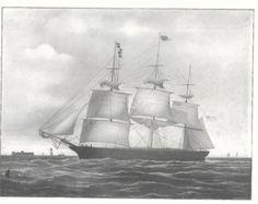 Impresión de 1904 antiguo del vela nave tifón, construido en 1851