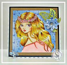 Designed by Laine.  Flower Headband - Lemon Shortbread. Image Lemon Shortbread - Flower Headband. Spectrum Noir markers/pencils used: Skin: FS2, FS4, FS6, TN2, TN3, + 05, 09, 26, 32, 88, 102 Hair: GB2, GB4, GB6, TN3, + 14, 86, 88, 92, 102, 120 Headband and dress: PP1, PP3, PL1, DG1, CT1, GB4, + 27, 47, 80. #spectrumnoir #beautiful #floral #lemonshortbread #crafting