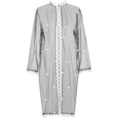 Sheer Coat | Moda Operandi ❤ liked on Polyvore featuring outerwear, coats, velvet jumpsuit, velvet halter top, v neck jumpsuit, skinny jumpsuit and jump suit