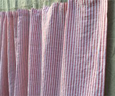 White and Red Ticking Stripe Shower Curtain. SuperiorCustomLinens.com
