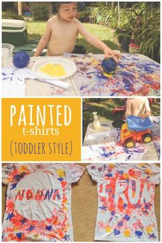 Lots of different ways for even toddlers to make painted t-shirts