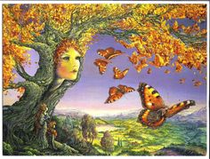 BUTTERFLY TREE by Josephine Wall. Deep in the heart of the countryside, the spirit of the tree watches as her leafy offspring take flight. As two moss maidens look on in awe, each golden leaf transforms into a beautiful butterfly as it is shaken gently from her boughs. Woodland fairies seize the moment to nestle safely into the delicate wings of the butterflies as they soar gracefully through the sunlit sky over a world of unexplored beauty.