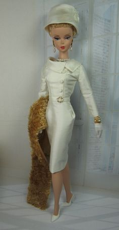 Snowdrop for Silkstone Barbie and Victoire Roux:  A vintage style sheath dress in beautiful off-white silk dupioni.