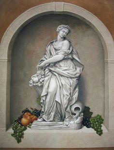 Abundance statue stencil  Niche stencil  Grapes & Peaches stencil