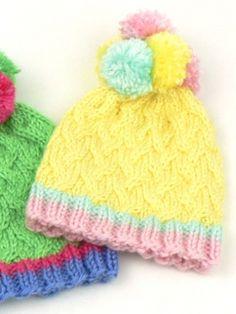 Pom Pom Hats: free knitting pattern