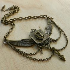 Image of Exquisite Steampunk Winged Lock & Key Necklace