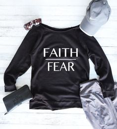 You are now viewing our Faith Over Fear light weight raw edge sweater. Our tops are made-to-order and designed in house. We hope you love them as much as we do!!  Specifics:  4.9 oz. 50% poly/50% cotton French Terry Light Weight Poly Cotton Jersey Satin label Raw Edge Neck Line  Should you need your item quicker you may purchase these shipping upgrade items below by adding them to your cart with the items you wish to purchase.  Priority Shipping Upgrade: https://www.etsy.com&#x...