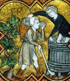 Martyrologe de St-Germain-des-Prés, 1270 Picking & Treading grapes