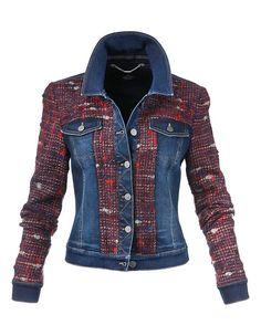 Jeansjacke im Material-Mix, darkblue/multicolor, blau Preppy Trends, Moda Jeans, Diy Vetement, Diy Mode, Denim Ideas, Blue Jean Jacket, Warm Outfits, Tweed Jacket, Denim Fashion