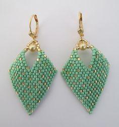 Beaded Leaf Earrings  Mint Green by pattimacs on Etsy