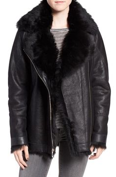 Free shipping and returns on HiSO Tattler Genuine Toscana Shearling Oversize Bomber Jacket at Nordstrom.com. An oversized black bomber jacket gets a luxe upgrade in genuine Toscana lambskin shearling from Spain, complete with pops of plush fur at the cuffs and lapel.