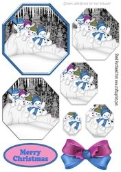 Lovely snowmen playing in the snow  in blue hexagon pyramids on Craftsuprint - View Now!