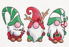 These Christmas gnomies are ready to party! Use this machine embroidery design to create quirky and cute tea towels, pillows, and more! Christmas Rock, Christmas Gnome, Christmas Projects, Winter Christmas, Christmas Drawing, Christmas Paintings, Christmas Decorations, Christmas Ornaments, Christmas Markets