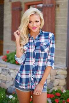 Flirting With Flannel Top - Navy/White/Red from Closet Candy Boutique #fashion #ootd #spring