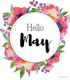 """Hello May - monthly cover for planners, bullet journals"" Stickers by vasylissa Bullet Journal Titles, Bullet Journal Month, Bullet Journal Inspiration, May Month Quotes, Hello May Quotes, Journal Stickers, Planner Stickers, Bellet Journal, Unisex Baby Names"