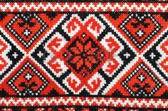 bestickte gut durch Kreuzstich Muster ukrainischen ethnischen Ornament Lizenzfreie Bilder