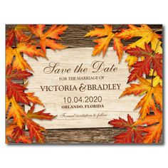 Shop Fall Wedding RSVP Card With Autumn Leaves On Wood created by Personalize it with photos & text or purchase as is! Wedding Reception Cards, Wedding Rsvp, Wedding Save The Dates, Wedding Thank You Cards, Wedding Ideas, Wedding Planning, Dream Wedding, Wedding Inspiration, Wedding Things