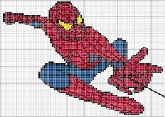Infantil Spiderman swinging with web. Cross Stitch For Kids, Cross Stitch Charts, Cross Stitch Patterns, Cross Stitching, Cross Stitch Embroidery, Beading Patterns, Embroidery Patterns, Marvel Cross Stitch, Spiderman