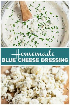 Frugal Food Items - How To Prepare Dinner And Luxuriate In Delightful Meals Without Having Shelling Out A Fortune This Homemade Blue Cheese Dressing Recipe Is Easy To Make And So Creamy It's Prepared With Sour Cream, Mayo, And Chunky Blue Cheese Crumbles. Best Salad Recipes, Salad Dressing Recipes, Sauce Recipes, Real Food Recipes, Yummy Food, Salad Dressings, Healthy Food, Blue Cheese Recipes, Blue Cheese Sauce