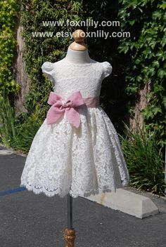 """Ivory OR White Lace Dress """"Petra with Cap Sleeves"""", Flower Girl Dress, Communion… Little Girl Dresses, Girls Dresses, Flower Girl Dresses, Girls Baptism Dress, Frocks For Girls, Maid Dress, Dress With Cardigan, Communion Dresses, Schneider"""